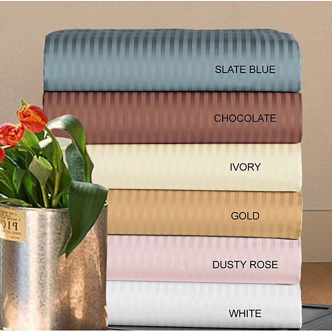 Cotton Stripe 500 Thread Count Sheet Set