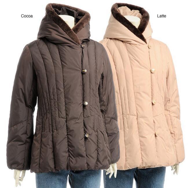 Larry Levine Women's Hooded Down Jacket