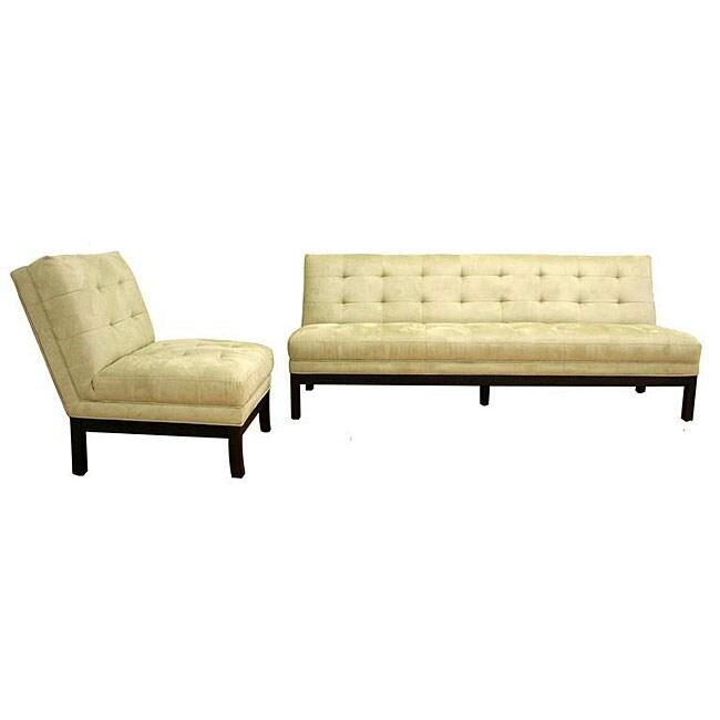 Light Seafoam Green Microfiber Sofa and Chair Set