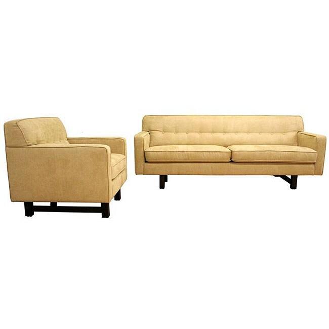 Microfiber Camel-colored Retro Sofa Set