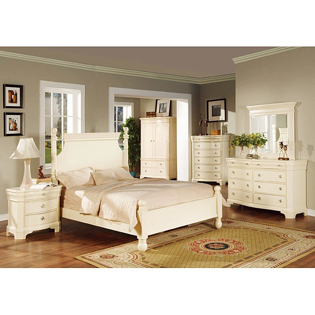 transitional white finish 4 piece king size bedroom set free