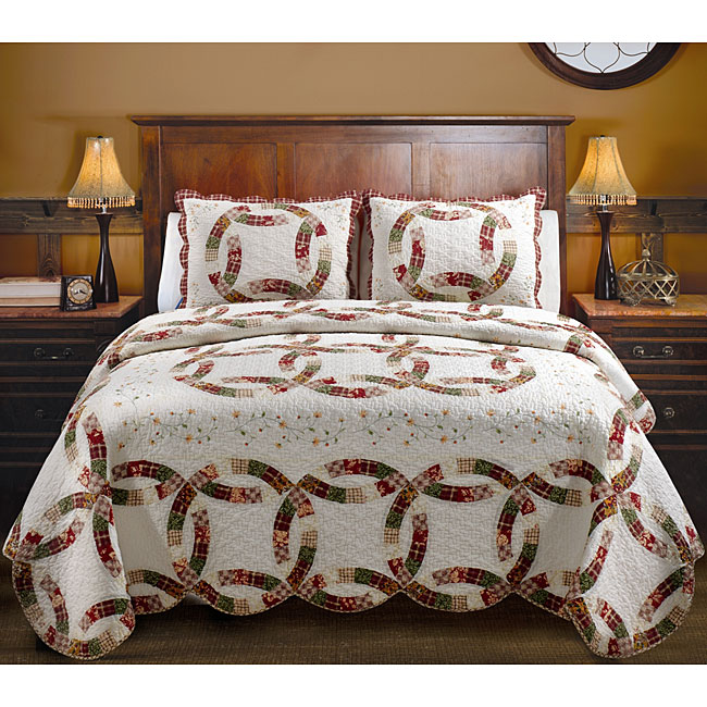 Greenland Home Fashions Embroidered Wedding Ring Quilt Set