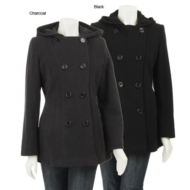 AK Anne Klein Women's Plus Size Short Wool Coat