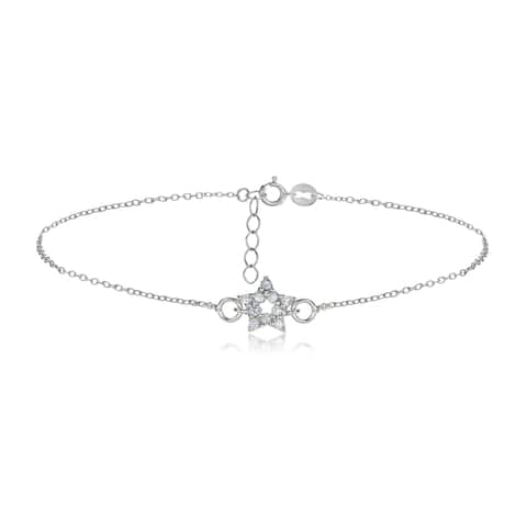 Icz Stonez Sterling Silver Cubic Zirconia Star Anklet