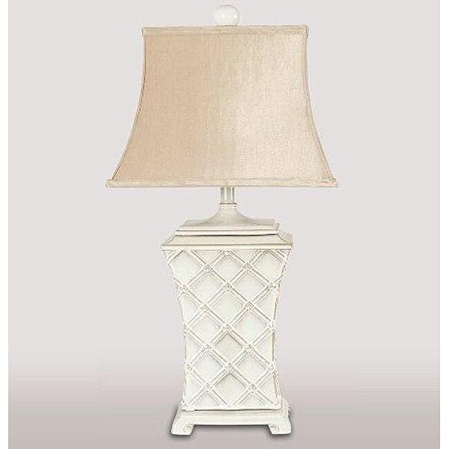 Shop Square Lattice Cream Color Base Table Lamp Free Shipping