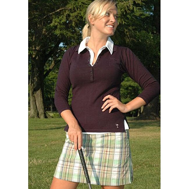 Golftini Women's Green Plaid Skort