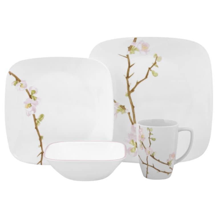 corelle square cherry blossom 16 piece dinnerware set free shipping