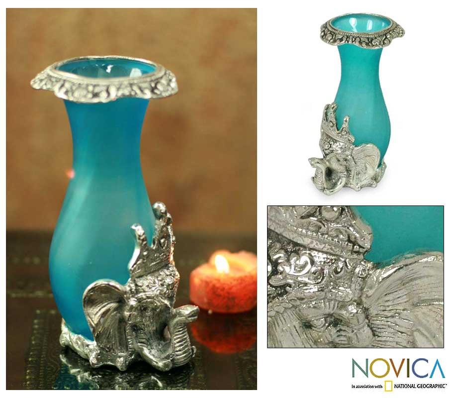 'Turquoise Treasure' Glass Vase (India)