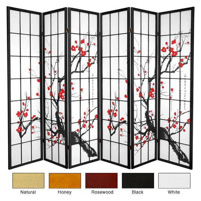 Wood 6-foot 6-panel Flower Blossom Room Divider (China)