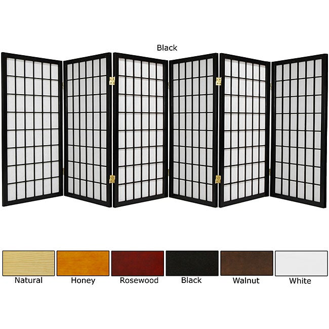 Wood/ Paper 3-foot 6-panel Miniature Windowpane Shoji Screen (China)