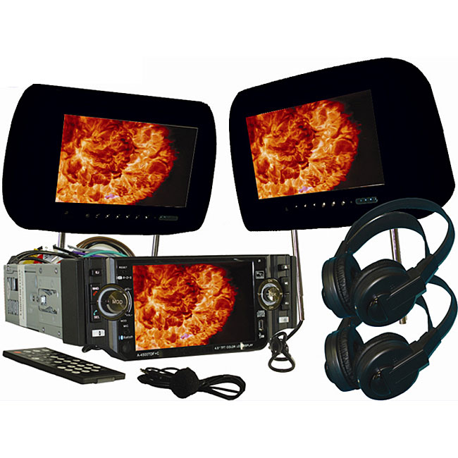 Black 9-inch Headrests with 4.5-inch Screen Car DVD Player