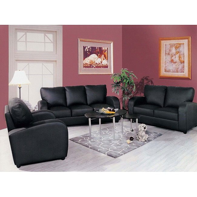 Contemporary black leather 3 piece living room set free for Living room 3 piece sets