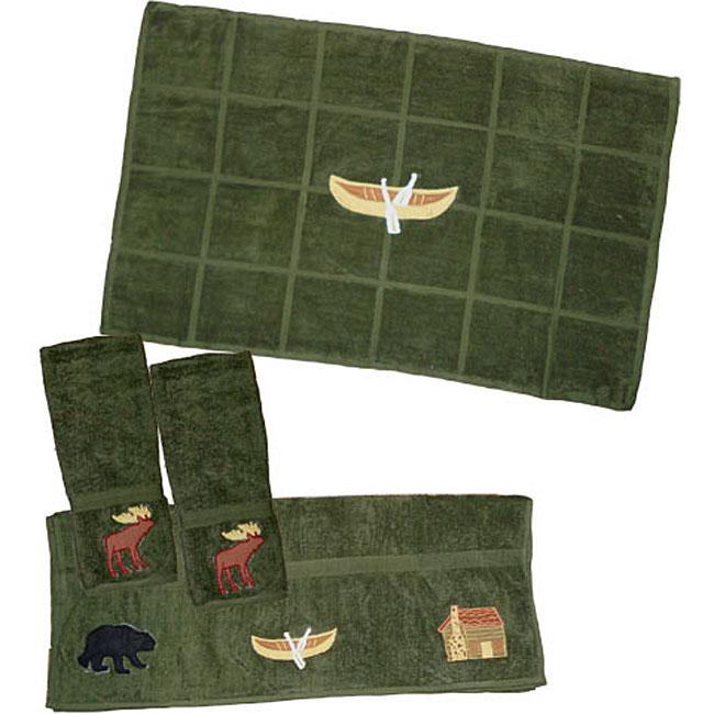 Dark Green 4-piece Northwoods Walk Towel Set