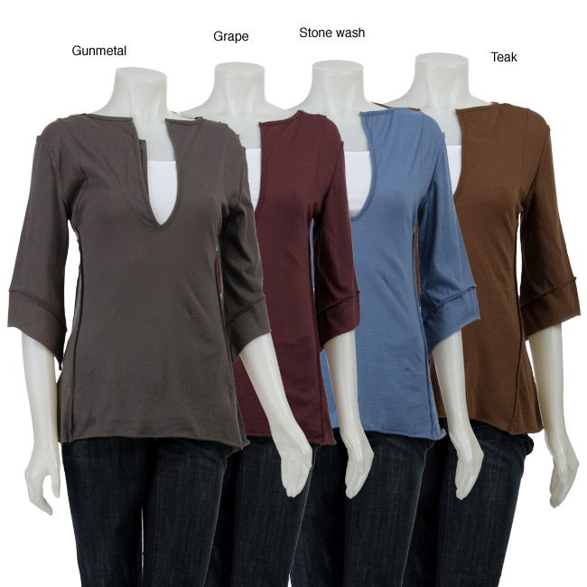 AtoZ Women's Asymmetrical V-neck Top