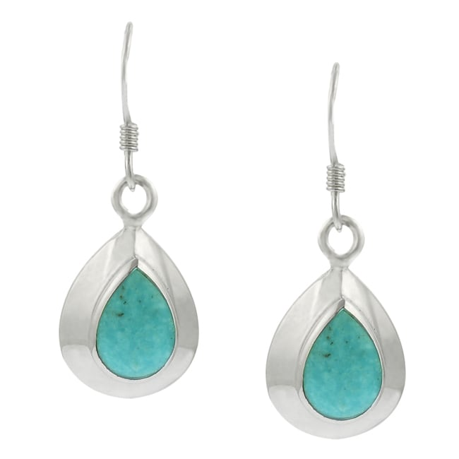 Journee Sterling Silver and Turquoise Earrings
