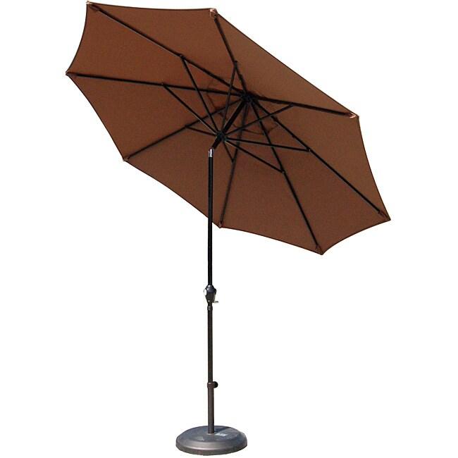 Lauren & Company Premium Woven Mocha 9-foot Aluminum Patio Umbrella with Stand