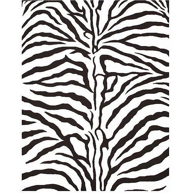 Hand-tufted Zebra Wool Rug (6' x 9')