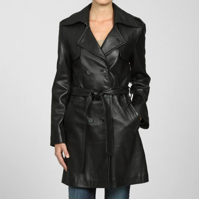 Izod Women's Lambskin Double-breasted Belted Trench Coat