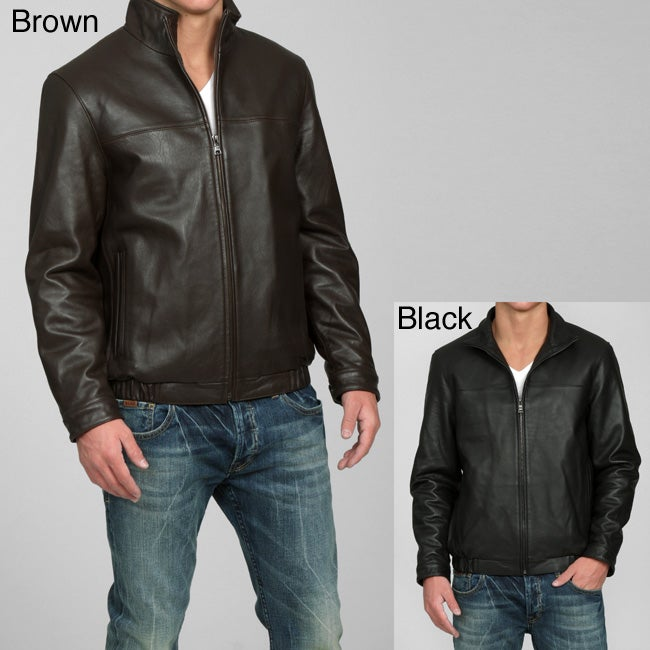 Izod Men's New Zealand Lamb Leather Bomber Jacket