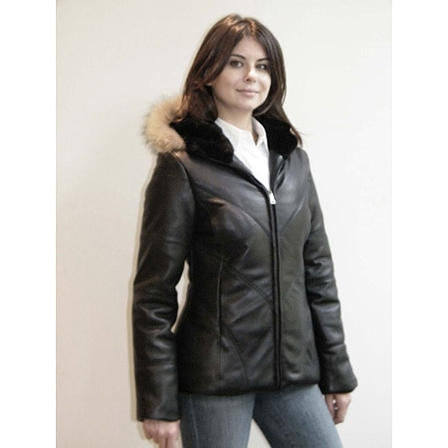 Izod Women's Plus Size New Zealand Lambskin Leather Puffer Jacket