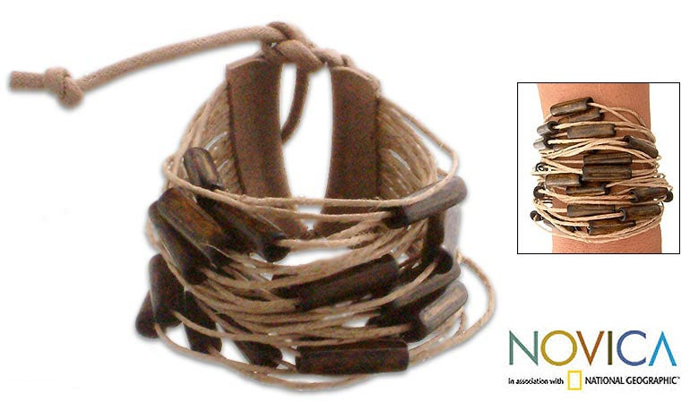 Bamboo and Leather 'Dark Brown Amazon' Bracelet (Brazil)