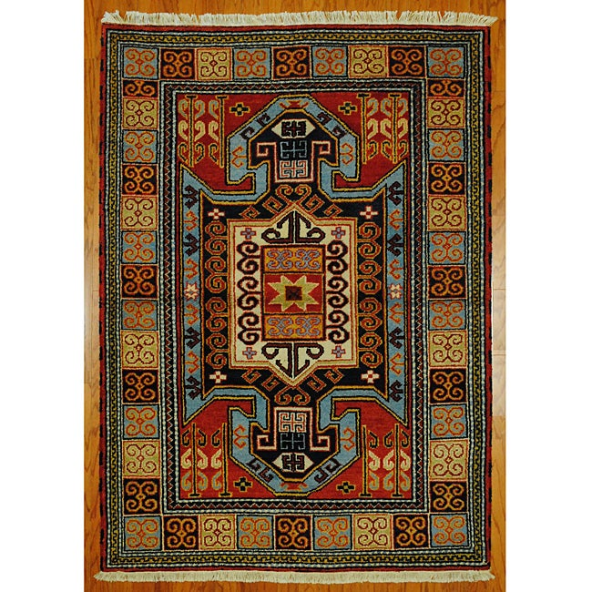 Indo Kazak Red/ Ivory Wool/ Cotton Rug (4'8 x 6'5) - Thumbnail 0