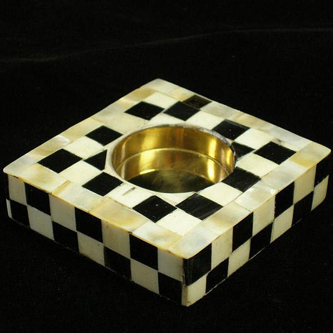 Checkered Bone Votive Holder (India)