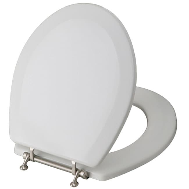 Magnolia Elongated Wood Toilet Seat With Nickel Plated