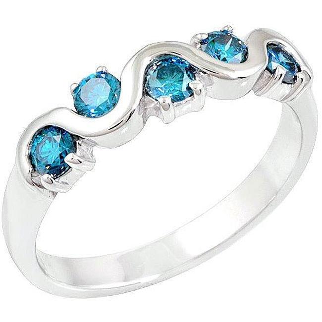 14k White Gold 1/2ct TDW Blue Diamond 5-stone Ring (Size 7)