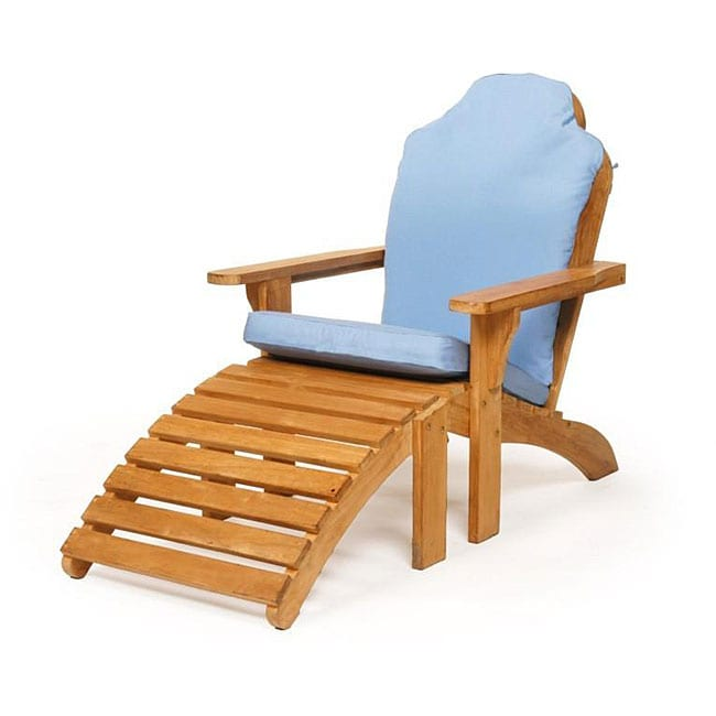 Shop Teak Adirondack Chair With Ottoman With Cushion