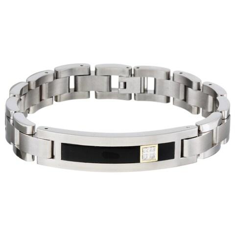 Men's Titanium and 14k Gold Onyx and Diamond Bracelet (12.5 mm)
