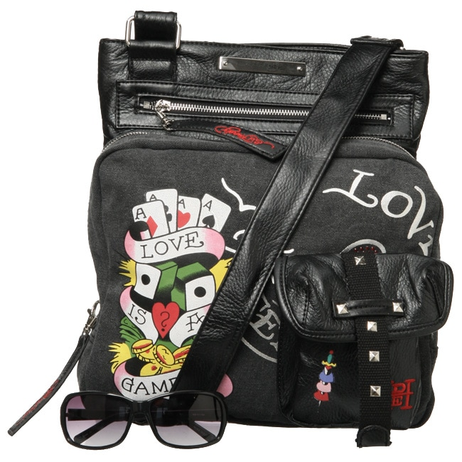 d8bb9cc53a9c Shop Ed Hardy Medium Canvas and Leather Cross-body Bag - Free Shipping  Today - Overstock - 4137554