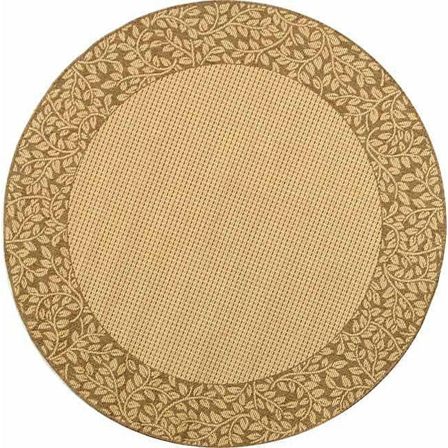 Safavieh Courtyard Natural/ Brown Indoor/ Outdoor Rug (6'7 Round) - Thumbnail 0