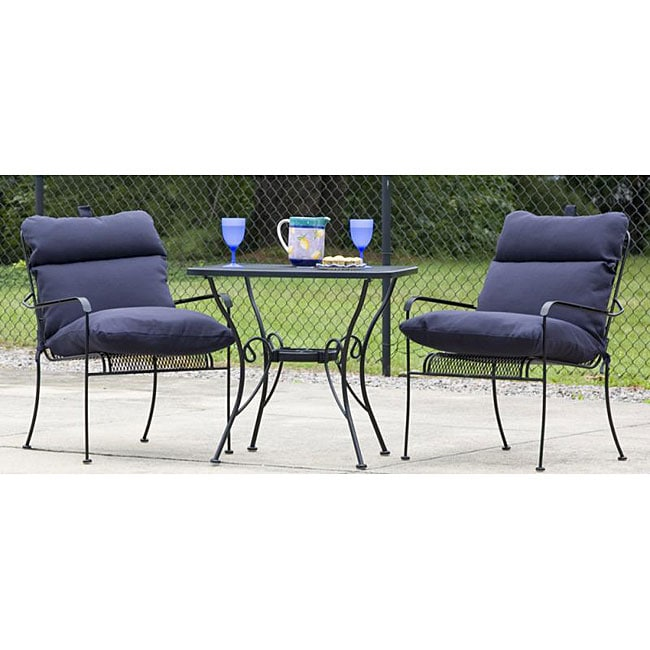 all-weather navy blue outdoor club chair cushion