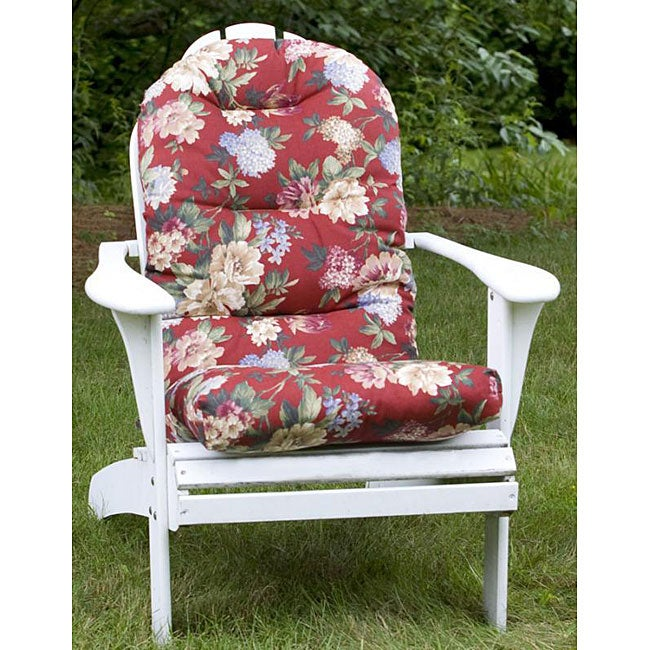 All Weather Red Floral Outdoor Adirondack Chair Cushion