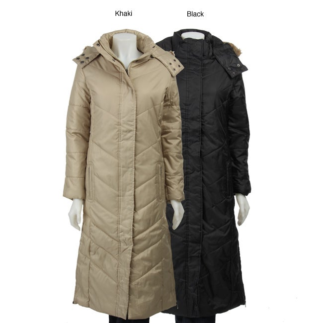 Yoki Women's Contemporary Quilted Snap Faux Fur Hooded Coat - Free ...