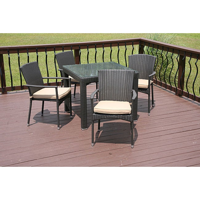 Savannah Outdoor 5 Piece All Weather Wicker Dining Set