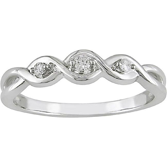 Miadora 10k White Gold Diamond Three-stone Twist Ring
