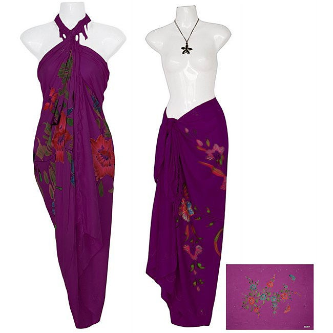 1 World Sarongs Women's Sequined/ Embroidered Purple Butterfly Sarong (Indonesia)