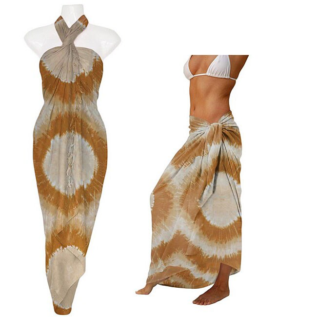 1 World Sarongs Women's Tie-dye Creamy Brown Sarong (Indonesia)