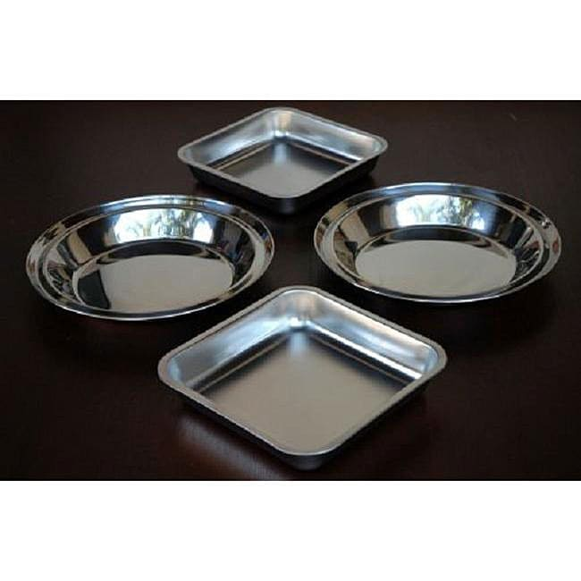 Stainless Steel Pie Plate and Cake Pan Set (Pack of 2 Each)