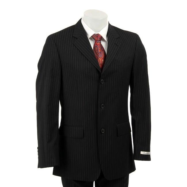 Kenneth Cole Slim Collection Men's Black Pinstripe Suit