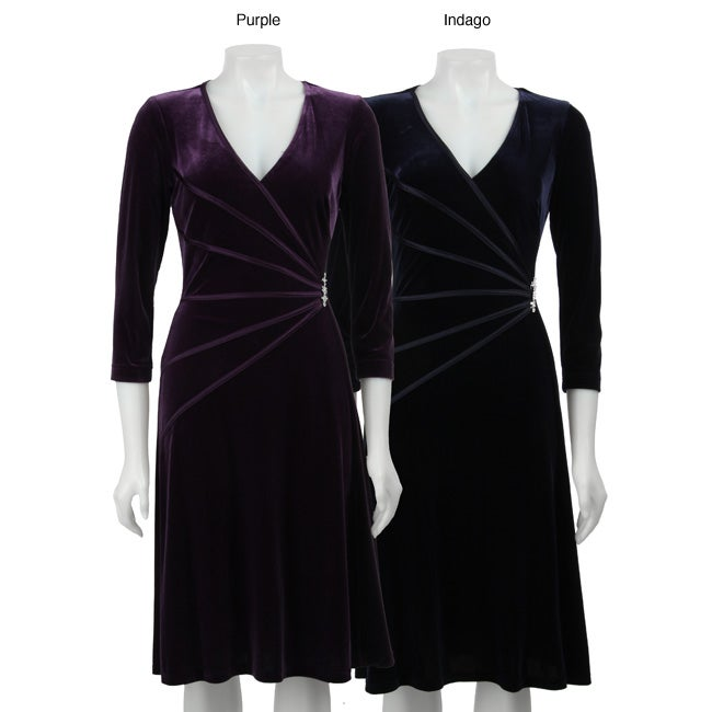 Women s elbow sleeve stretch velvet fitted dress