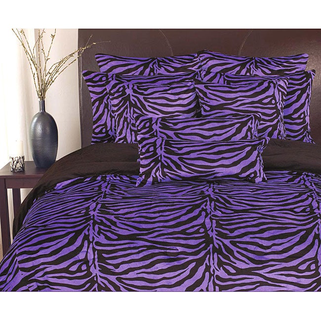 Purple and Black Reversible Plush 'Zebra' 3-piece Comforter Set