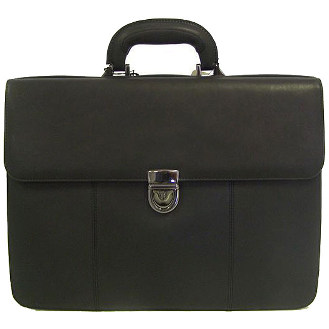 Perry Ellis Neo Structured Leather Briefcase Free