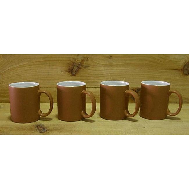 Ceramic Terracotta and White Coffee/ Tea Mugs (Pack of 4)