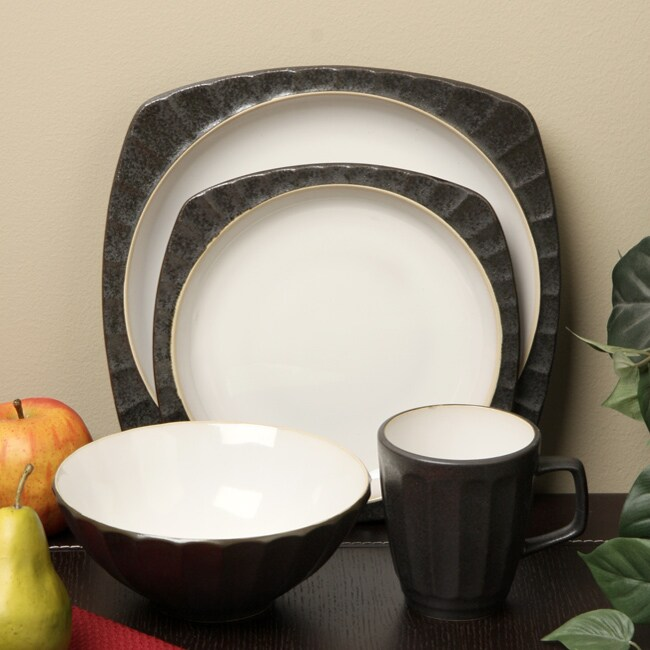 Sango 16-piece Contrast Charcoal Dinnerware Set