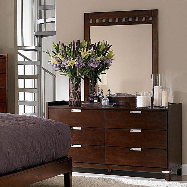 Noho Gallery Warm Cherry Dresser and Mirror Set