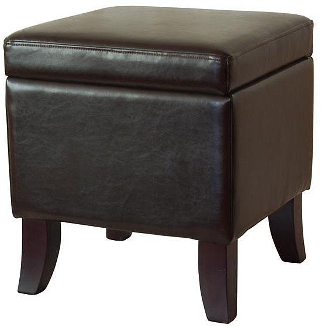 Dark Espresso Color Bi-cast Leather Storage Ottoman