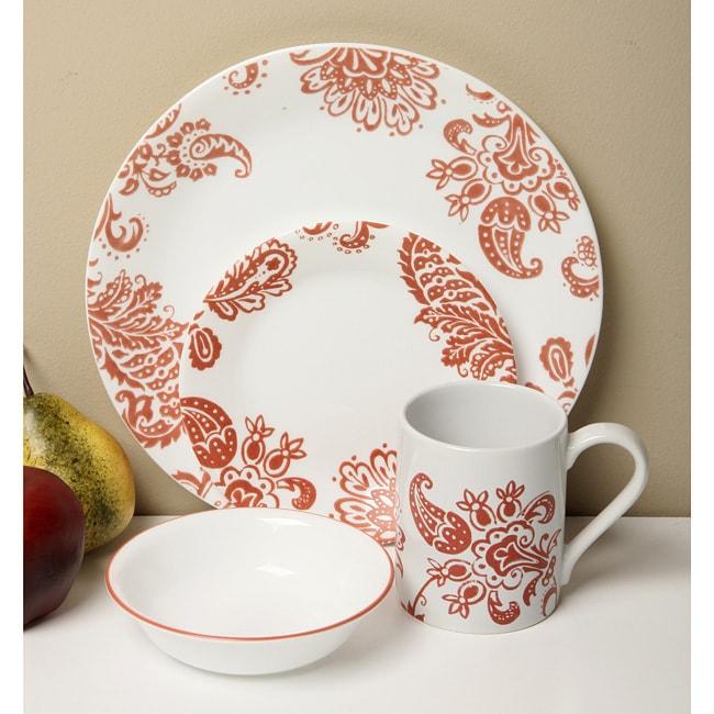 Corelle Impressions Red Paisley 20-piece Dinnerware Set